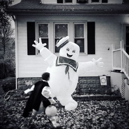 Running past Mr Stay Puft on Halloween . IPhoneography Ghostbusters Trick Or Treat Black And White EyeEm New Jersey