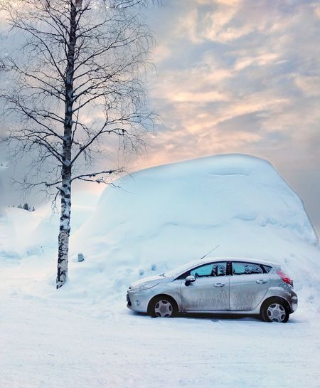 In Finnish Lapland Lost In The Landscape Car Environment Cold Temperature Transportation Winter Ethereal No People Crash Landscape Destruction Snow Nature Outdoors Day Sky Finland Lapland Lapland, Finland