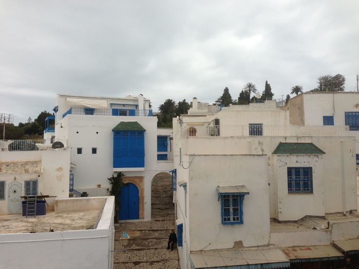 Architecture Building Building Exterior Built Structure City Cloud Cloud - Sky Cloudy Day Exterior Façade House Low Angle View No People Old Outdoors Residential Building Residential Structure Sidi Bou Said Sky Window