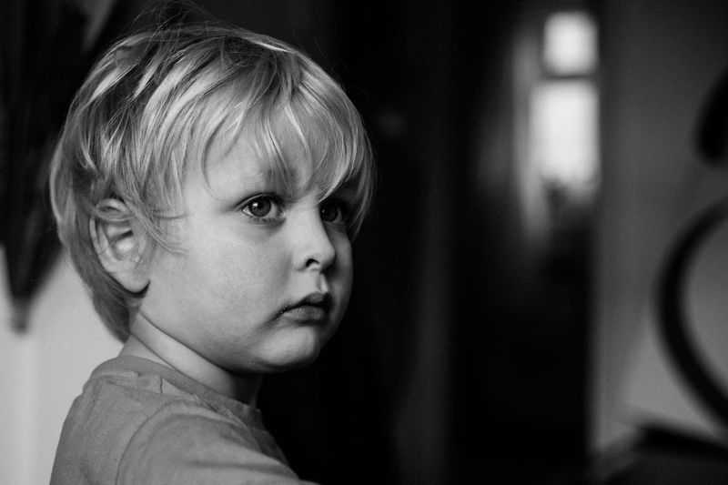 Close-up portrait of toddler boy