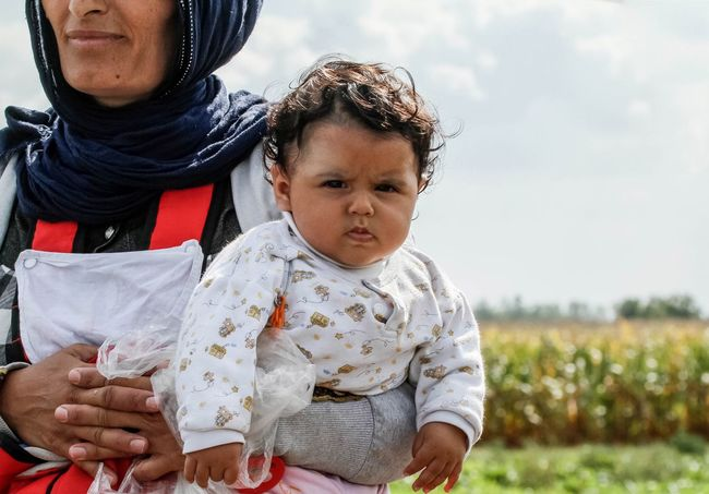 Portrait Refugees Baby Angry Syria  Hungry Border People Travel Migrants