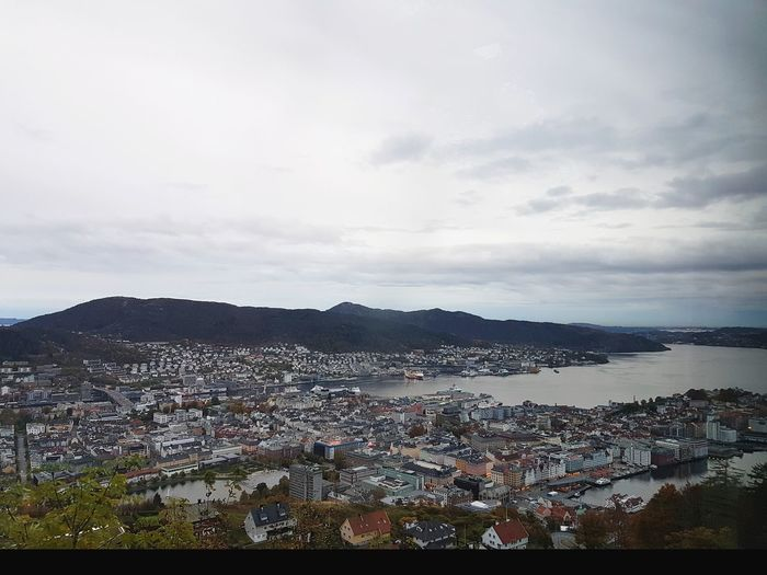 Bergen, Norway, one of the rainiest cities in the world Bergen Autumn Noruega Norge Norsk Norway Scandinavia Architecture Harbor Pier Port Rainy Old Buildings Old Houses Rainiest Nature Green Trees Fjord Fjordsofnorway Bay Skyline Horizon Weather City Cityscape Mountain Sea Aerial View Town