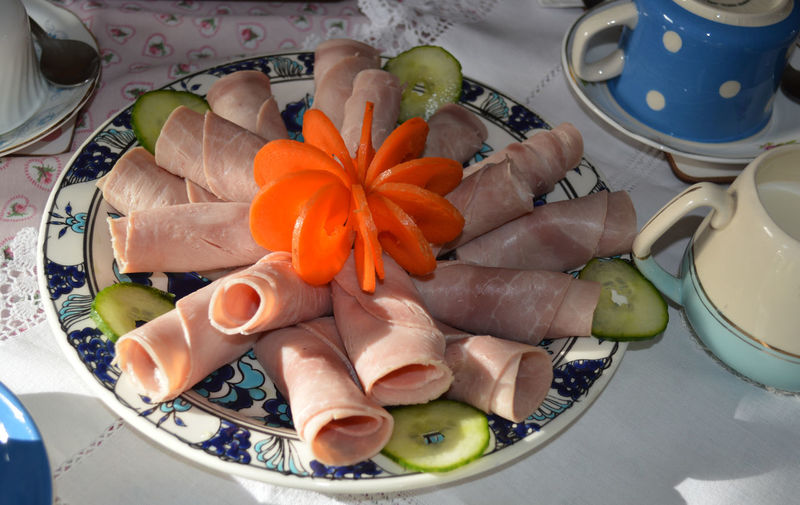 Ham salad with carrot flower