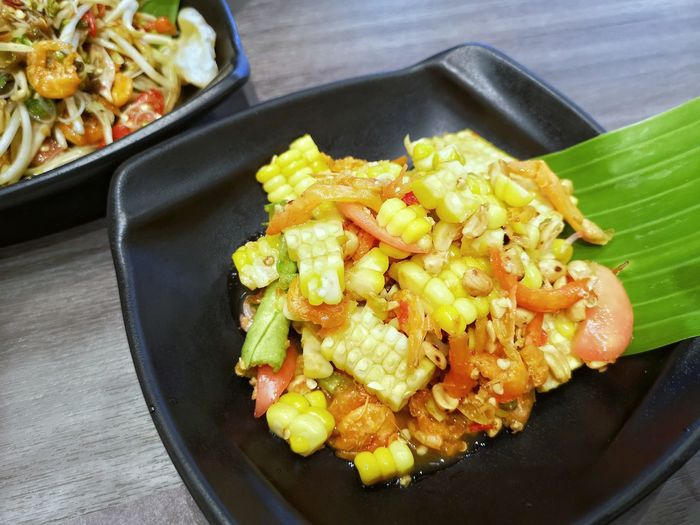 Spicy Thai Food Spicy Food Corn Corn Salad Salad Comfort Food City Vegetable High Angle View Close-up Food And Drink Asian Food Corn On The Cob Salad Bowl Thai Food