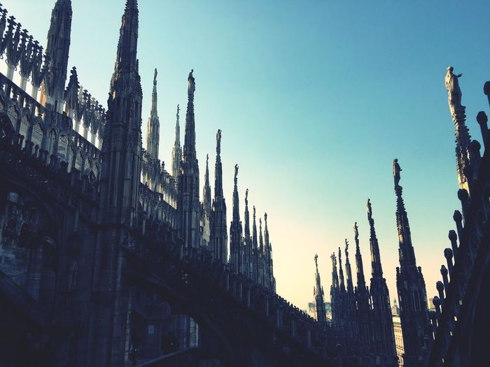 Spires of Duomo Di Milano... Architecture Cathedral History Built Structure Place Of Worship Building Exterior Spires High Angle View ViewAtTheTop Beautiful Gothic Style Milan Rooftop