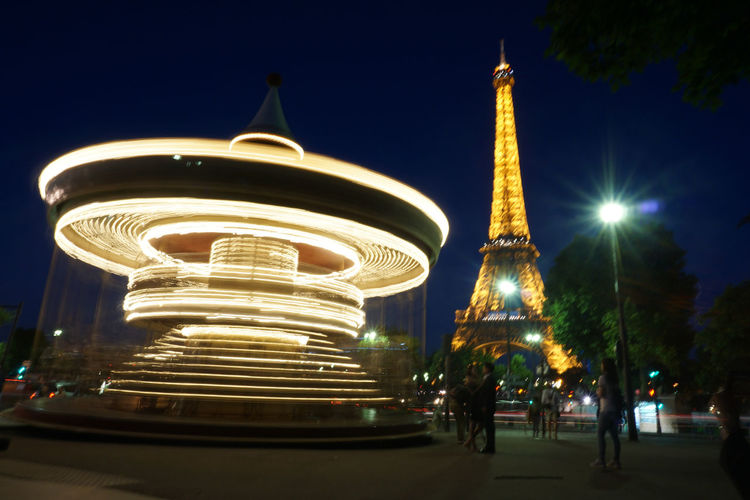 Night Illuminated Architecture City Outdoors Eiffel Tower Travel Photography Low Angle View Paris France France🇫🇷 Long Exposure Europe Europe Trip Merry-go-round Eiffel by Chualkak in Paris, France