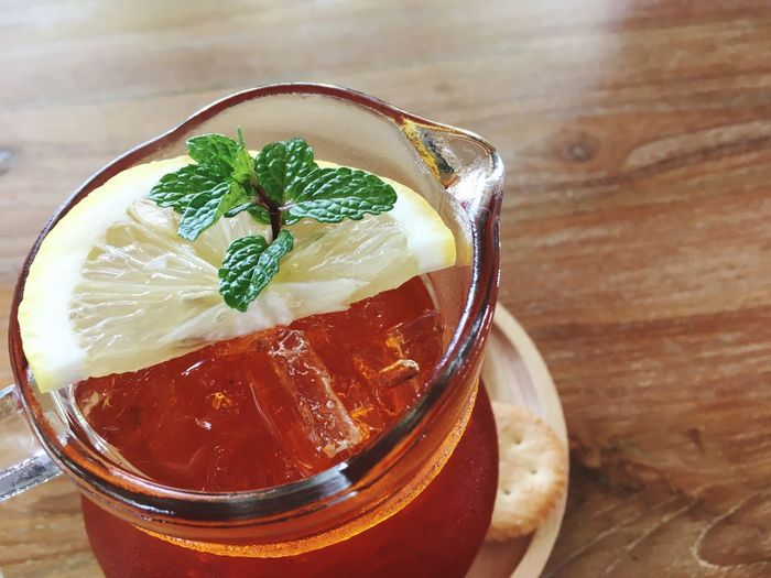 Ice Lemon Tea Food And Drink Drink Refreshment Table Freshness Indoors  No People Drinking Glass Close-up Ice Cube Cold Temperature Mint Leaf - Culinary