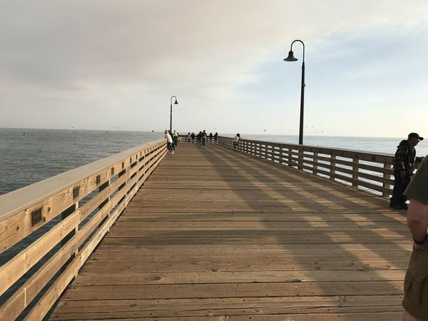 Beauty In Nature Bird Cloud - Sky Day Fishing Pole Groyne Horizon Over Water Jetty Men Nature One Person Outdoors Pier Railing Real People Scenics Sea Sky Street Light The Way Forward Tranquil Scene Tranquility Water Wood - Material Wood Paneling