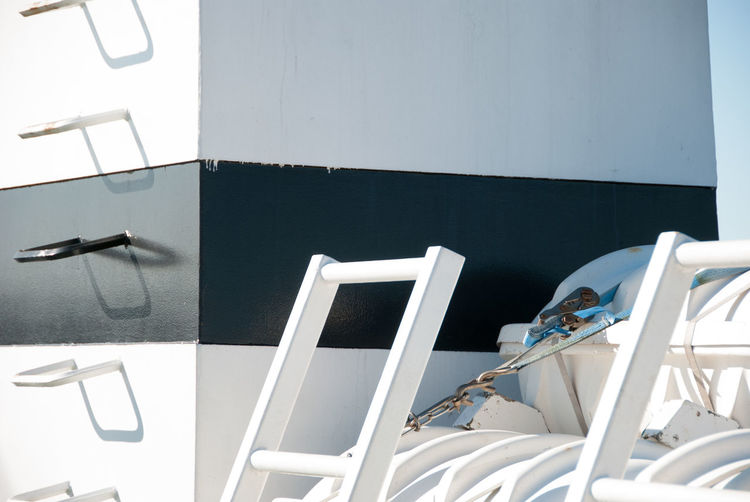Close-up of ladder in boat