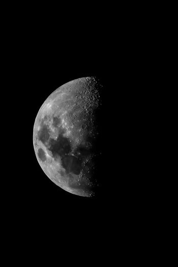 Moon in the dark Night Moon Space Sky Astronomy Beauty In Nature Planetary Moon Moon Surface Low Angle View Scenics - Nature No People Tranquility Copy Space Tranquil Scene Nature Half Moon Idyllic Dark Majestic Outdoors Astrology Moonlight Space And Astronomy Moon