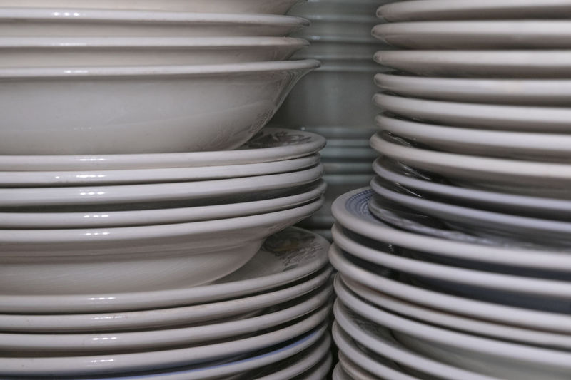Full frame shot of stacked plates on table