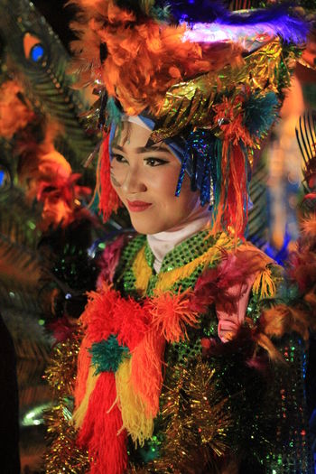 Young woman wearing costume during celebration event