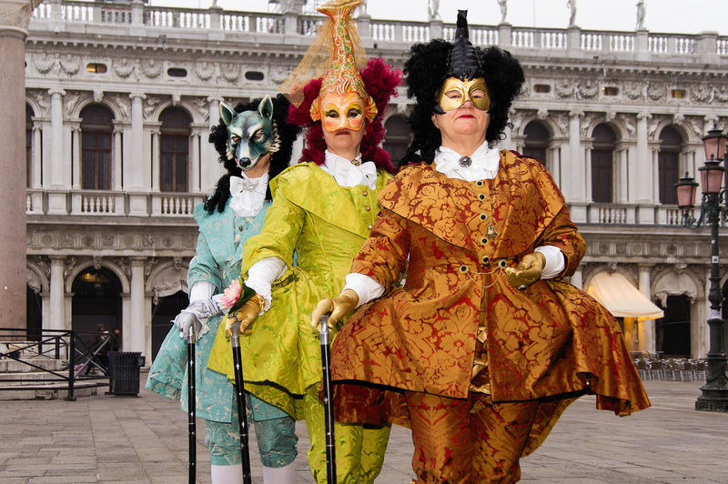 Carnival in Venice, Italy Carnevale a Venezia, Italia Carnival In Venice Piazza San Marco Adult Adults Only Architecture Building Exterior Built Structure Costumes Day Looking At Camera Mask - Disguise Outdoors People Performance Portrait Real People Standing Three People Young Adult The Street Photographer - 2018 EyeEm Awards The Portraitist - 2018 EyeEm Awards The Photojournalist - 2018 EyeEm Awards