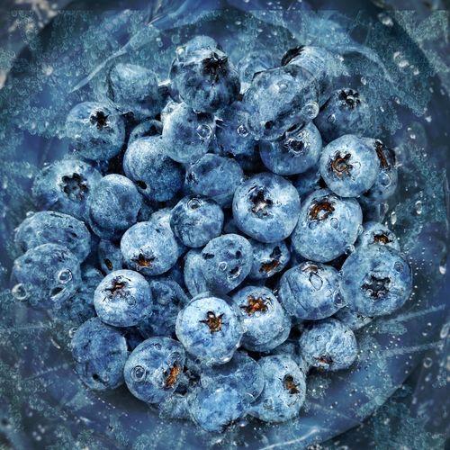 Full frame shot of blueberries in water