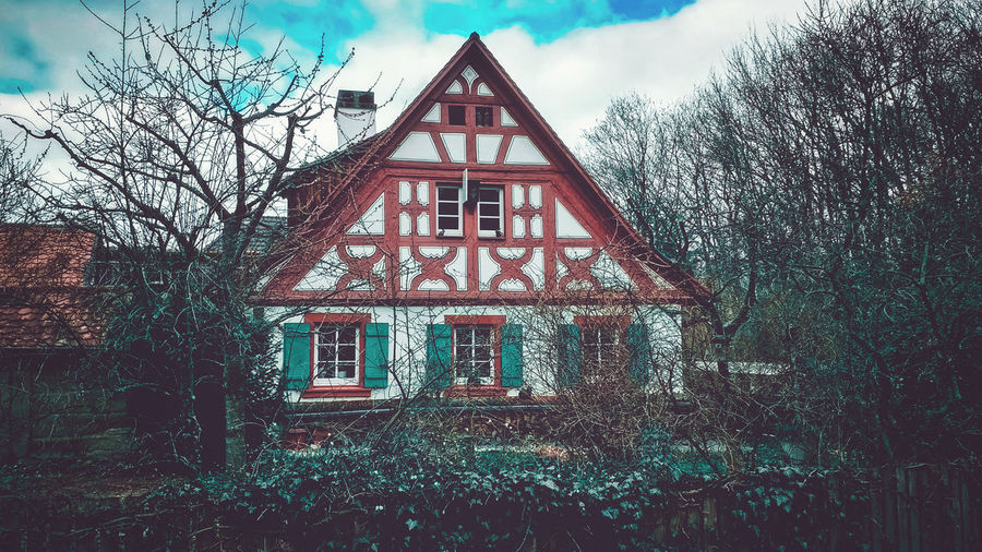The witch's cottage Witch Architecture Built Structure Building Exterior Tree Plant Building Sky Bare Tree Nature Day No People House Cloud - Sky Window Outdoors Residential District Low Angle View Façade Roof Branch