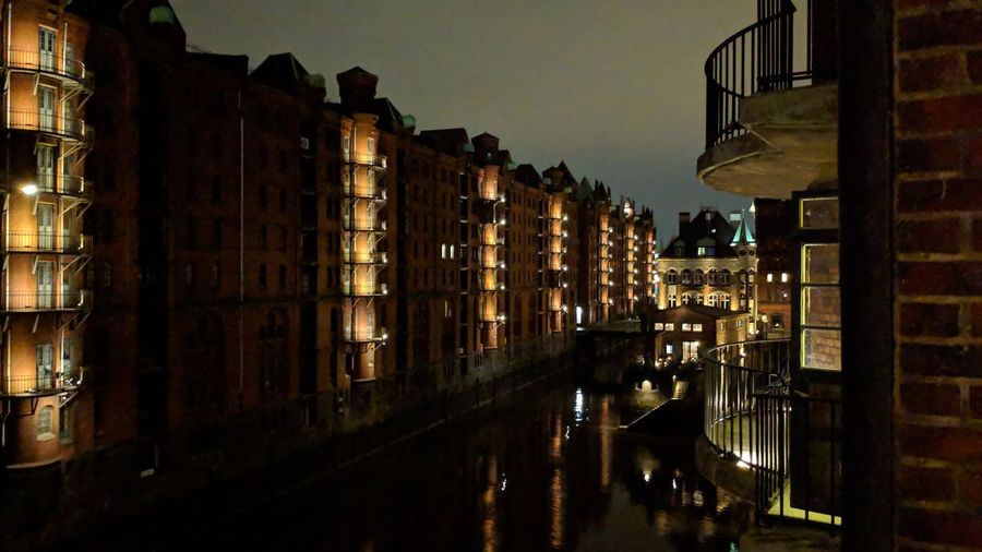 Speicherstadt at night. Hamburg Germany Hh Hamburg Meine Perle Speicherstadt Speicherstadt Hamburg UNESCO World Heritage Site Unesco World Heritage Trade Elbe Elbe River City Hanse Hansestadt Hamburg Hansestadt Urban Beauty Nightfall Night Lights Urban Geometry Simplicity City Reflection Water Sky Architecture Building Exterior