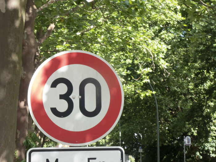 Typical 30 km/h speed limit sign used in Germany Speed Limit 30 Circle Close-up Guidance Information Limit Limited No People Number Outdoors Road Road Sign Sign Slow Speed Speed Limit Speed Limit Sign Traffic Sign Warning Sign