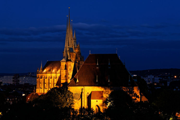 Erfurt - Cathedral and St. Severi Long Exposure Blue Hour Cathedral St. Severin Erfurt Thuringia Architecture Building Exterior Building Sky Illuminated Place Of Worship Religion Dusk History The Past Spirituality City Belief No People Blue