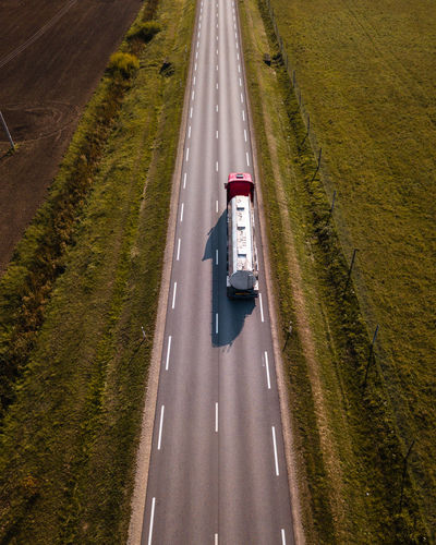 High angle view of semi-truck on road