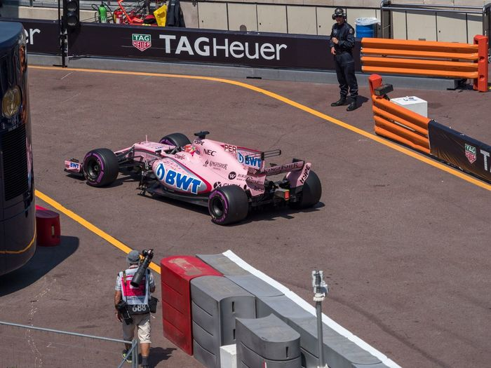 Sergio Perez entering pits at Monaco F1 Grand Prix Car Motorsport Auto Racing Sports Race F1 Car Olympus OMD M1 MkII Monaco Monte Carlo