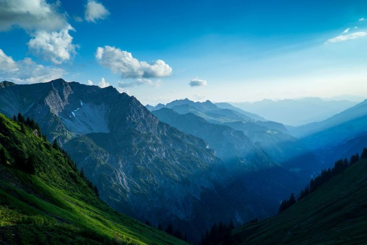 Take a deep breath of fresh mountain air Wallpaper Silence Nature View Peace Happiness Solitude Mountain Hiking
