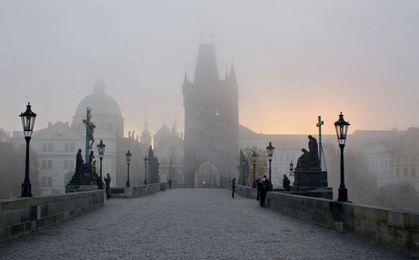 Architecture Bridge Charles City Fog History Karlův Most Prague Sky Tourism Travel Destinations