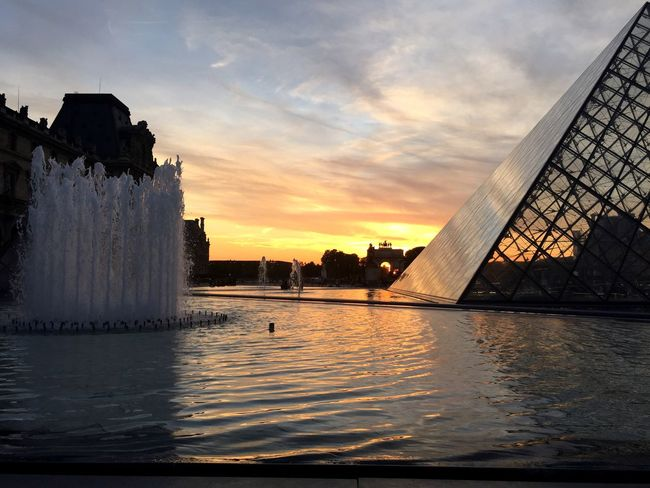 Sunset Water Sky Architecture Pyramide Du Louvre Paris Reflection Light And Shadow Fountain