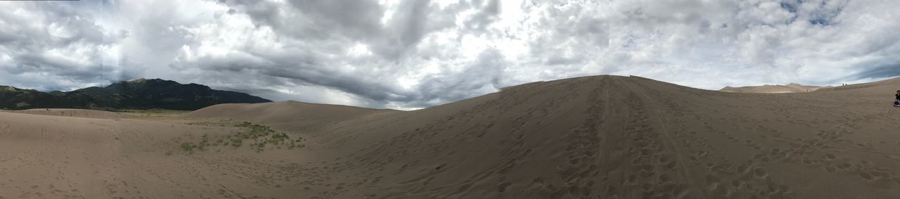 Great Sand Dunes Panorama Colorado Greatsanddunesnationalpark Sand Environment Desert Panoramic Nature Tranquil Scene Non-urban Scene Tranquility Mountain Climate Remote Sand Dune