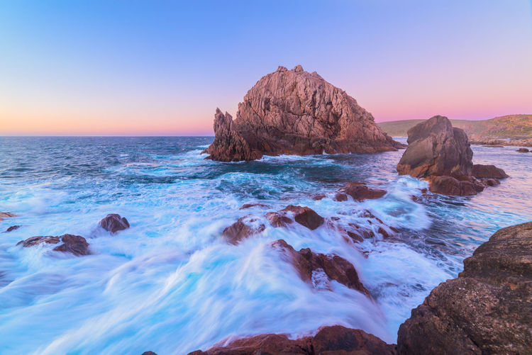 Sugarloaf Rock at sunset Water Sky Beauty In Nature Tranquility Tranquil Scene Scenics - Nature Nature No People Sea Land Rock - Object Rock Formation Ocean Outdoors Landscape Seascape Sunset Evening Colorful Colors Australia Travel Destinations Travel Flowing Water Flow