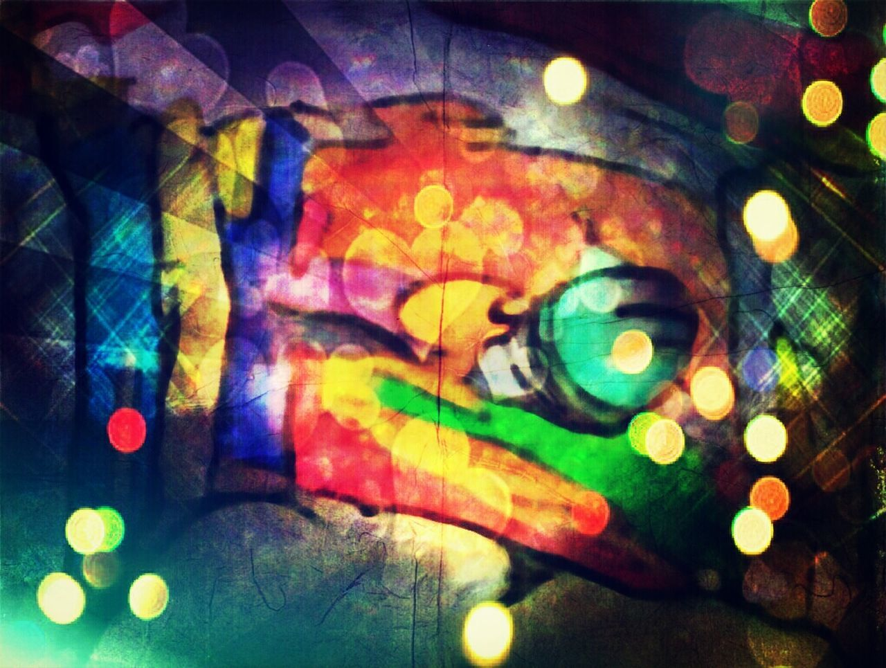 multi colored, illuminated, abstract, portrait, looking at camera, close-up, no people, outdoors, day