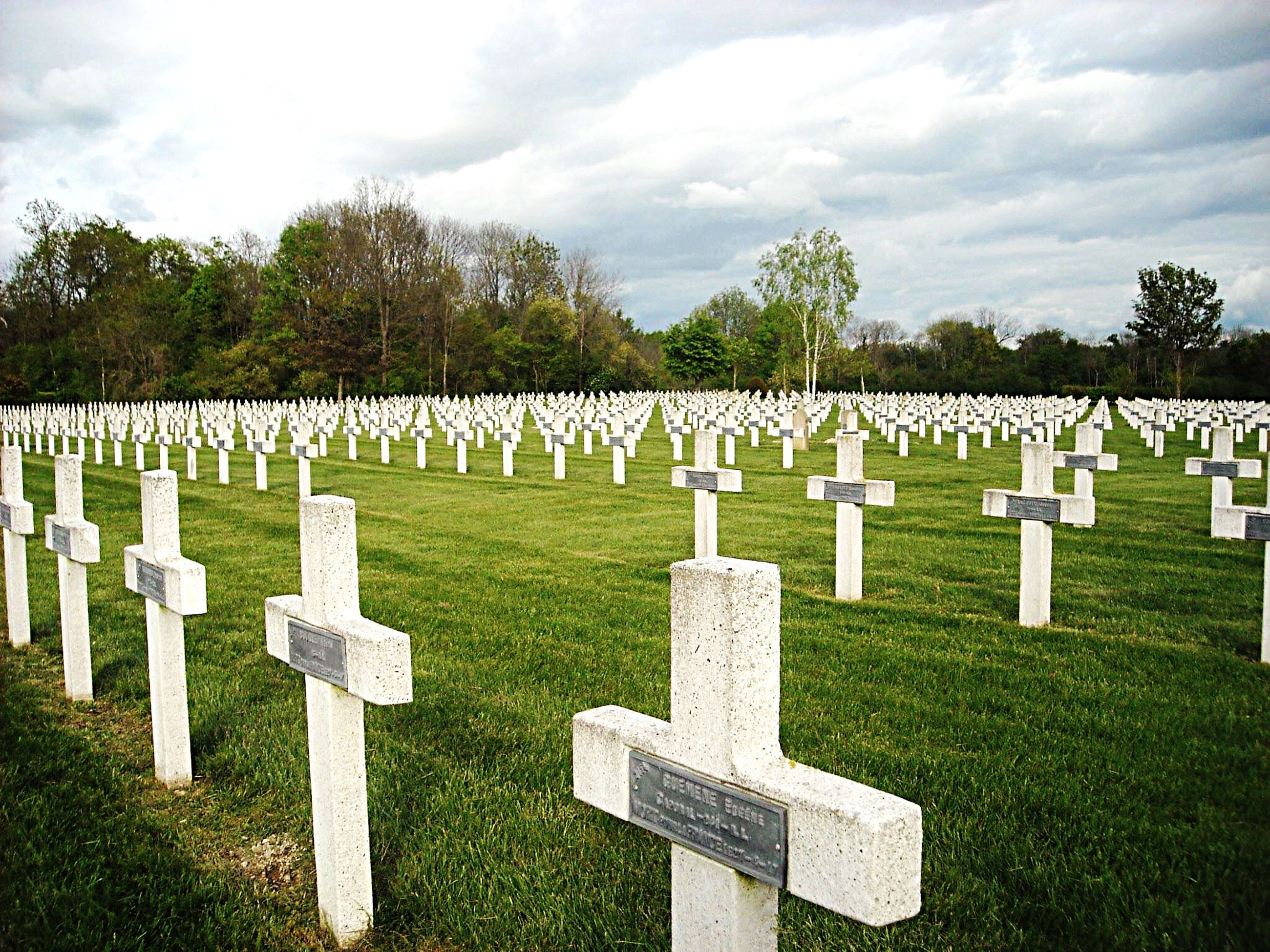 grass, cemetery, tombstone, memorial, tree, death, field, sky, memories, text, art and craft, human representation, green color, park - man made space, place of burial, creativity, art, grave, western script, in a row