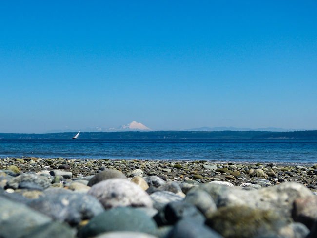Beach Beach Photography Beauty In Nature Calm Clear Sky Day Horizon Over Water Idyllic Mt. Baker Nature Pebble Puget Sound Rock Rock - Object Scenics Sea Shore Sky Stone Stone - Object Surface Level Tranquil Scene Tranquility Water Sailing