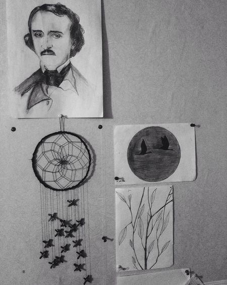 Edgar Allan Poe Dreamcatcher Interior Design Blackandwhite