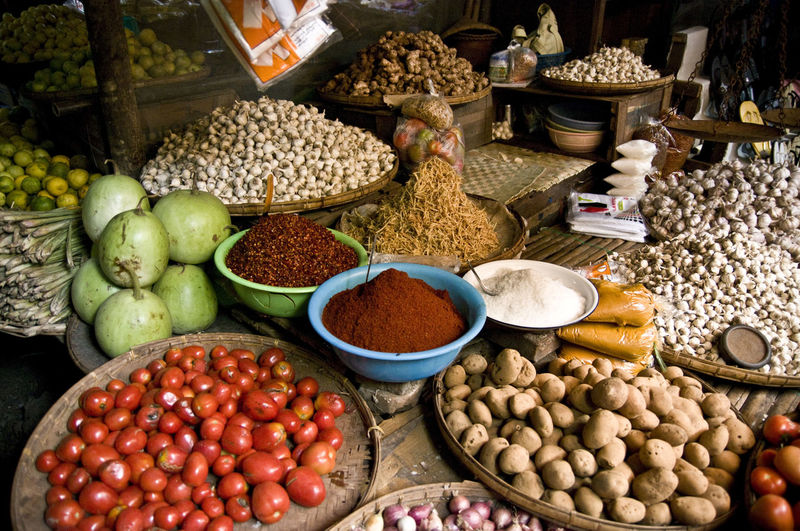 Abundance Asian Market Basket Choice Container Day Display Food For Sale Freshness Ginger Healthy Eating Mango Market Market Stall Myanmar Nuts Organic Outdoors Potatoes Retail  Sale Small Business Spices Tomatoes