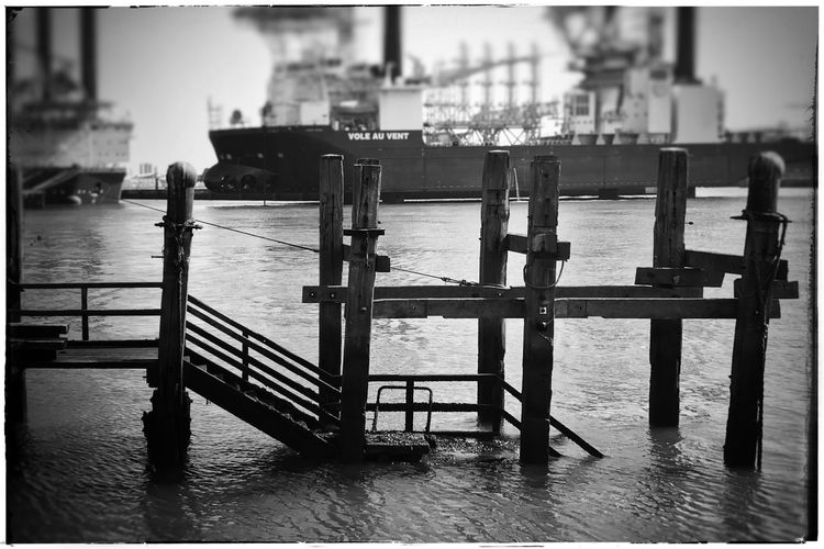 Black And White Oostende, Belgium Blackandwhite Kris Demey Photography Dof Blur Water Architecture Built Structure Building Exterior City Day Auto Post Production Filter Pier Transfer Print Railing Nature No People Sea Transportation Sky Outdoors Nautical Vessel Building