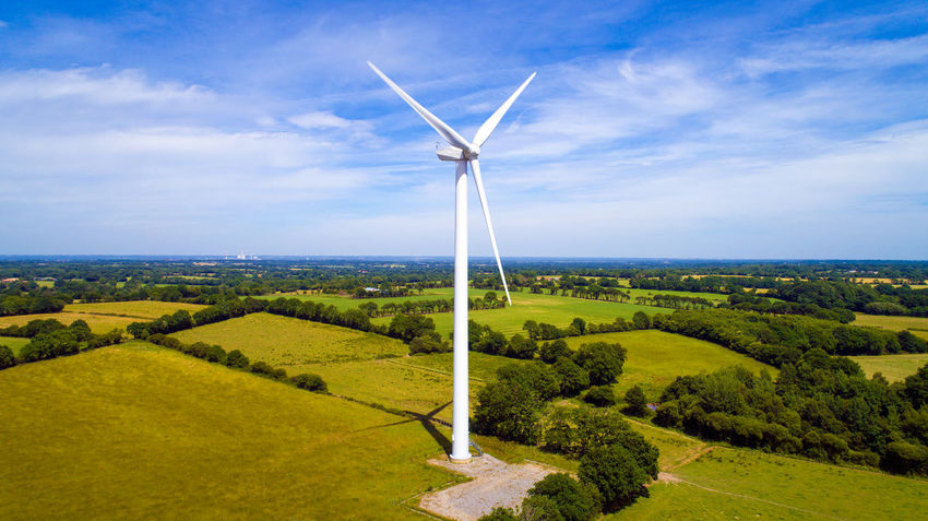 Aerial Photography Aerial View Blue Sky And Clouds Coutryside Ecology Electricity  Environmental Conservation Eolian Eolienne Field France Green Energy Loire Atlantique Port Saint Père Production Propeller Renewable Energy Rural Scene Technology Tree Wind Farm Wind Power Wind Turbine Wind Turbine Windmill
