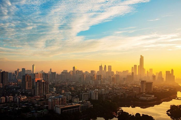 Skyscraper Cityscape Architecture Building Exterior City Urban Skyline Sunset Sky High Angle View Travel Destinations Cloud - Sky Outdoors Modern No People Built Structure Day 好心情(1)