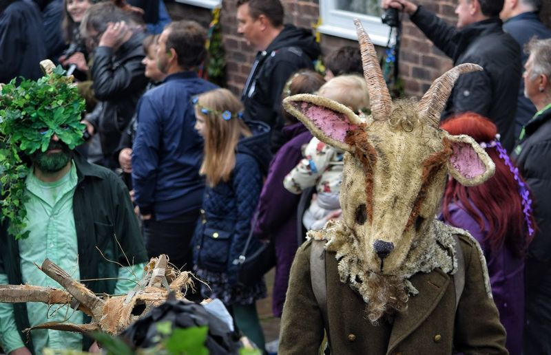 Jack In The Green Festival Jack In The Green May Day May Day 2017 Hastings East Sussex Pagan Carnival Spirit Disguise Parade Headdress RAM Rams Head Market Performing Arts Event Cultures Pagan Festival Celebration Arts Culture And Entertainment Outdoors Costa Rica Headwear Front View Performance Portrait