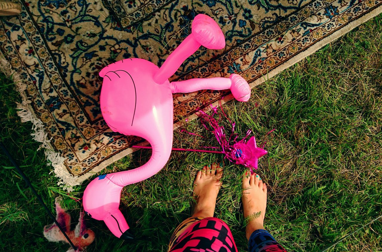 Low Section Of Woman Standing By Pink Toy On Field