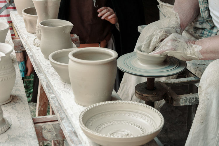 Clay Clay Work Claypot Close-up Day Earthenware High Angle View Human Body Part Human Hand Indoors  Making Men Occupation One Person People Real People Skill  Working Workshop Modern Workplace Culture Small Business Heroes