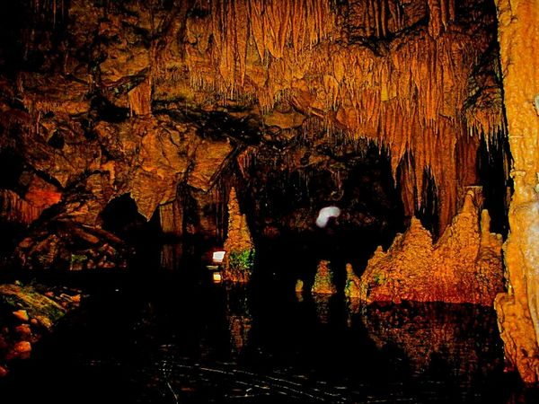 Cave Cave Photography Cave Formations Stalactites Diros Cave Mani Lakonias No People Water Reflections Shades Of Red Shades Of Yellow Peloponese Beautiful Nature Beauty In Nature Pattern Pieces Fine Art Pattern, Texture, Shape And Form Cave Tours