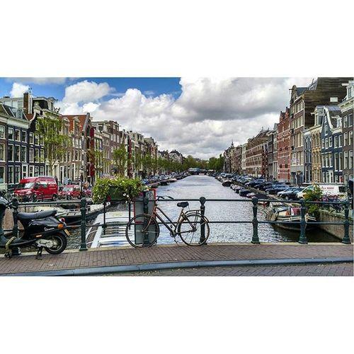 Amsterdam. Bestofamsterdam Amsterdamworld Bike Boat Nikon Sky Blue Netherlands