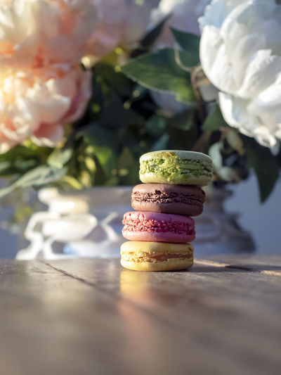 Four colors different flavors macaroons on the wooden table and flowers at the background Food Sweets Macaroon Rustic Style Rustic Charm Desserts French Backed Colorful Freshness Fresh Wooden Wooden Table Light And Airy Pink Apple Green Yellow Color Brown Color