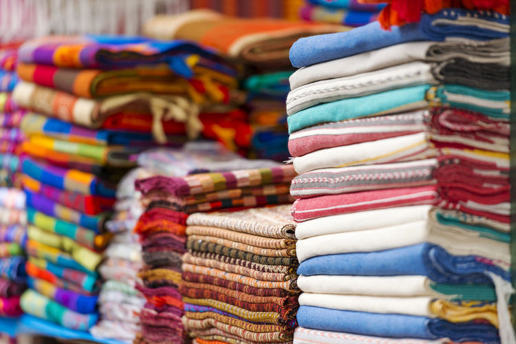 Close-up of multi colored textile for sale