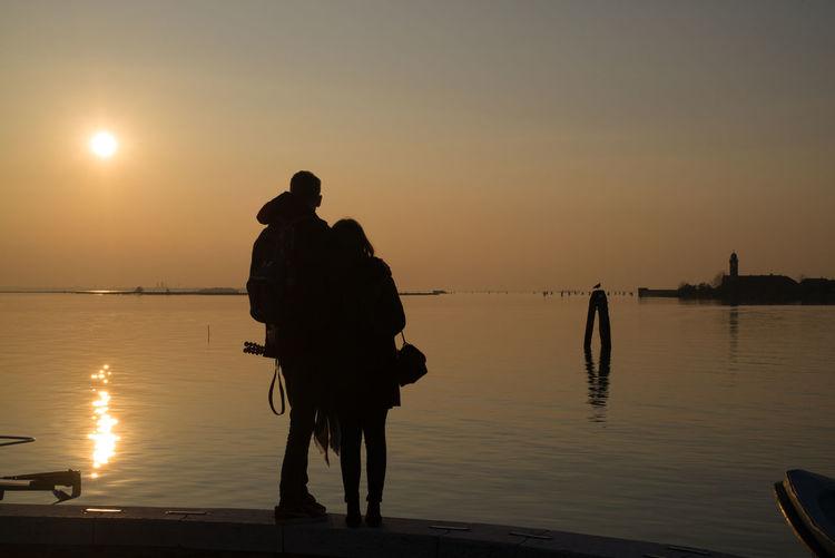 Couple Nature Romantic Silhouette Burano Lagoon November 2017 Sea Tourism Destination Water