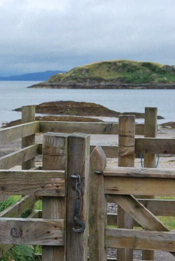 Gate, beach, wooden post nature beauty calm