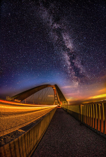 Baltic Sea Fehmarnsundbrücke Astronomy Beauty In Nature Bridge Bridge - Man Made Structure Connection Diminishing Perspective Direction Fehmarn Galaxy Milky Way Nature Night No People Road Scenics - Nature Sky Space Star Star - Space Star Field Street The Way Forward Transportation EyeEmNewHere A New Beginning