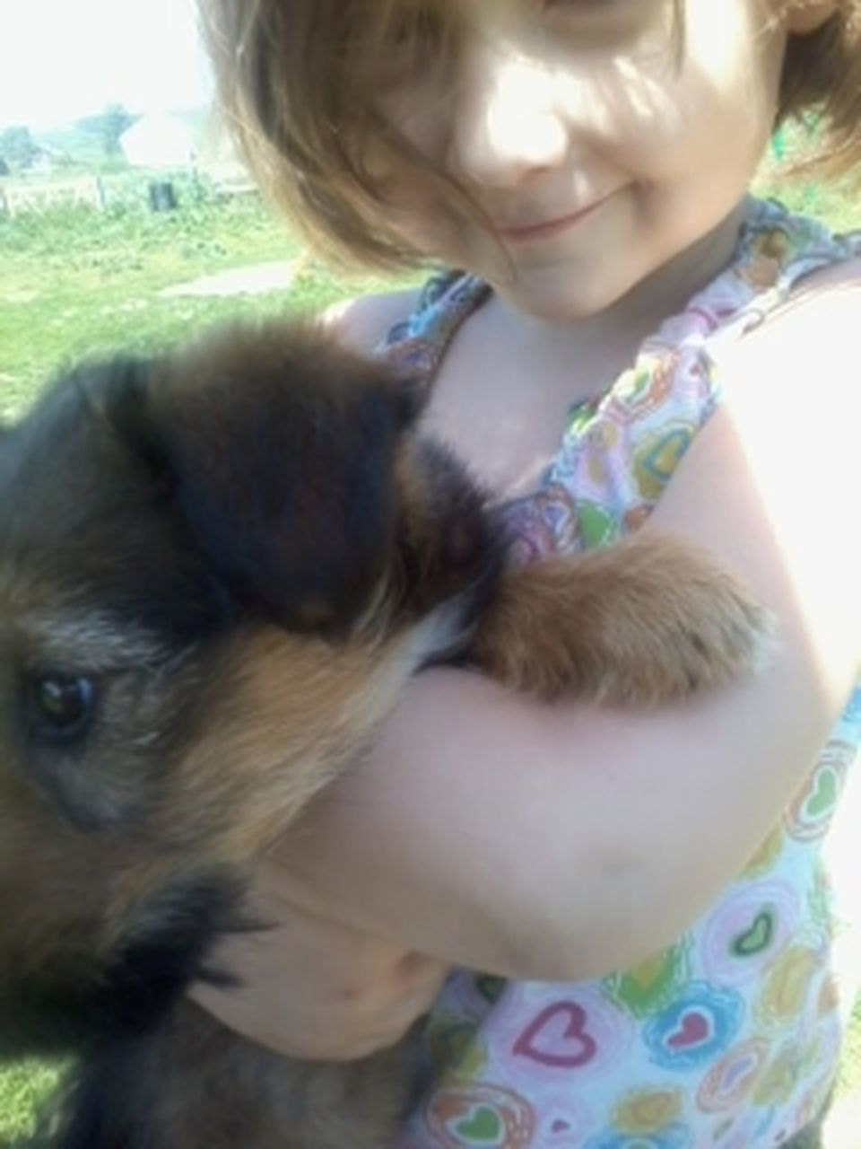 pets, one animal, children only, dog, child, childhood, animal themes, domestic animals, one girl only, one person, girls, friendship, animal, cute, people, blond hair, day, puppy, mammal, close-up, smiling, outdoors, adult
