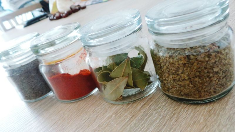 Glass Jars Small Spices Close Up Red Paprika Laurel Leaves Cumin Dry Cooking Delicious Food My Spices Spicesworld