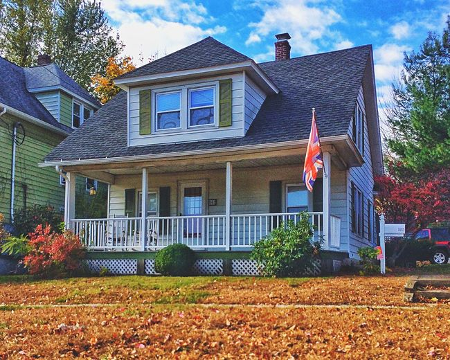 Not the only Brit in the neighbourhood... Building Exterior House Architecture Built Structure Outdoors Cultures No People Day Sky November Autumn Colors New England  Connecticut British Flag Union Jack Union Flag